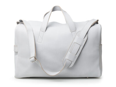 nasire overnighter in light grey smooth leather