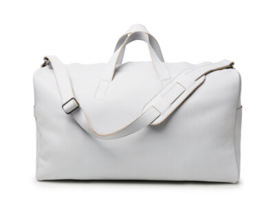 nasire weekender in light grey smooth leather
