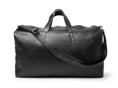 nasire weekender in black smooth leather