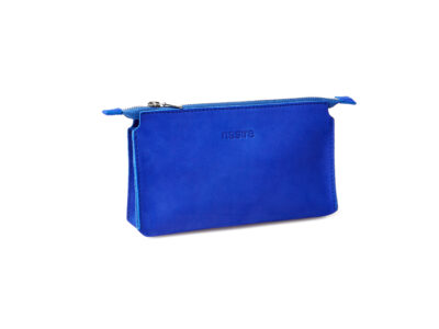 nasire essential pouch in blue majorelle ochre nubuck leather