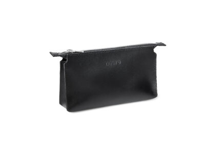 nasire essential pouch in black smooth leather
