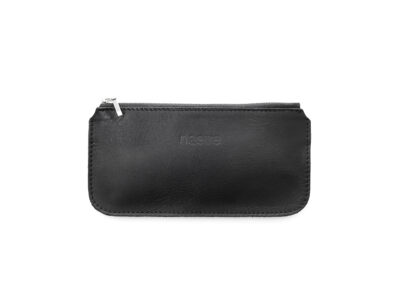 nasire mini pouch in black smooth leather