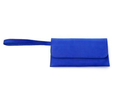 nasire travel pouch in blue majorelle nubuck leather