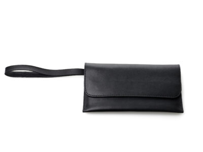 nasire travel pouch in black smooth leather