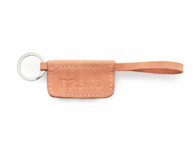 nasire keychain short in red ochre nubuck leather