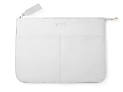 nasire laptopcase in light grey smooth leather