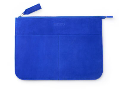 nasire laptopcase in blue majorelle nubuck leather