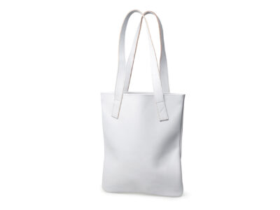 nasire tote in light grey smooth leather