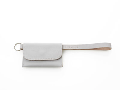 nasire short microwallet in light grey smooth leather