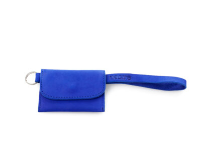 nasire short microwallet in blue majorelle nubuck leather