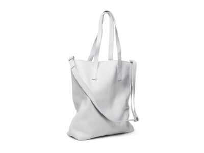 nasire shopper in light grey smooth leather