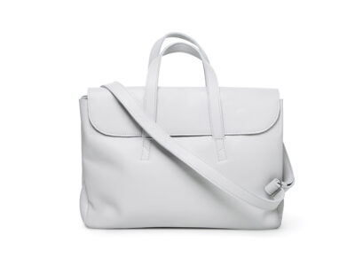 nasire business bag in light grey smooth leather