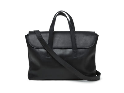 nasire business bag in black smooth leather
